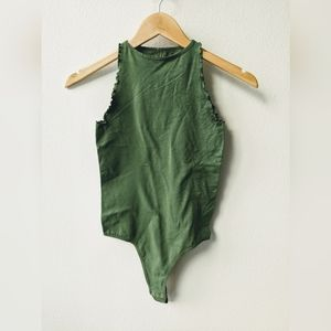 Free People Green Ruffled Body Suit - XS/S